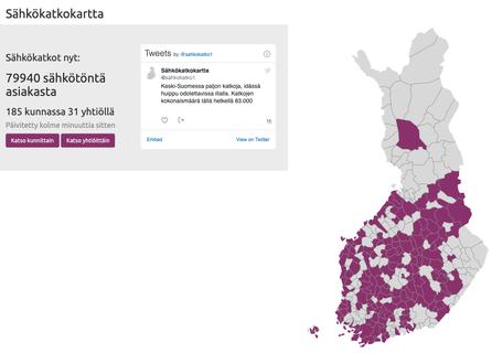 Skärmdump från webbplatsen www.sahkokatkokartta.fi
